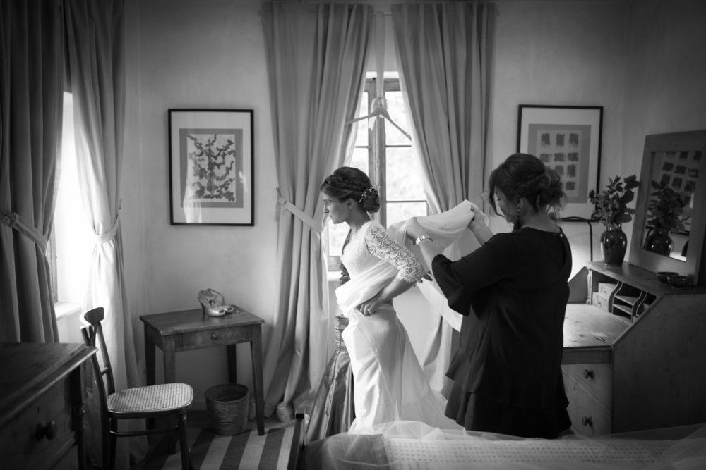 photo noir et blanc mariage au château de janzé